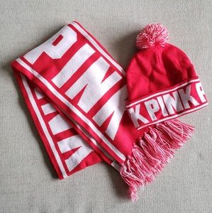 PINK victoria secret scarf and beanie tassle